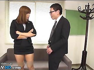 Japanese secretary dominates office lad