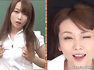 Hawt japanese teacher ends up bukkaked