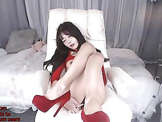 Korean marvelous camgirl in red heels