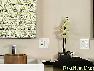 Massage therapist facialized