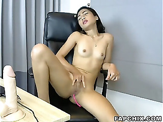 Sexy fake penis fuck show
