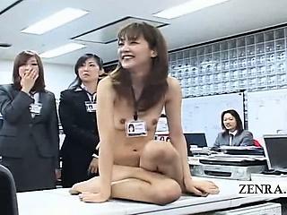 Subtitled CMNF ENF Japanese office rock constitution scissors