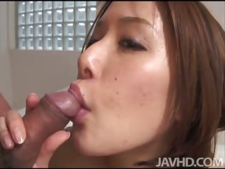 Sweet Emi Orihara in rub-down the bathroom on her knees sucking weasel words and bringing off with cum in her mouth