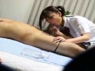 Massage from Asian mollycoddle includes blowjob for the brush buyer