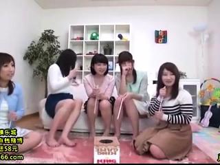 Lovely Japanese teen enjoys noisome group sex