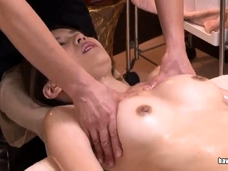 Japanese slut sucking on a hairy asian bushwa