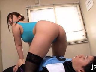 Cute nipponese maid Daiya Nagare gets boobs licked