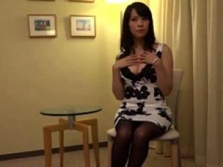 Asian girl in sexy stockings fingering herself sucking guy c